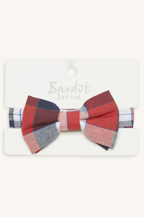 VICTOR CHECK BOW TIE in colour RED BUD