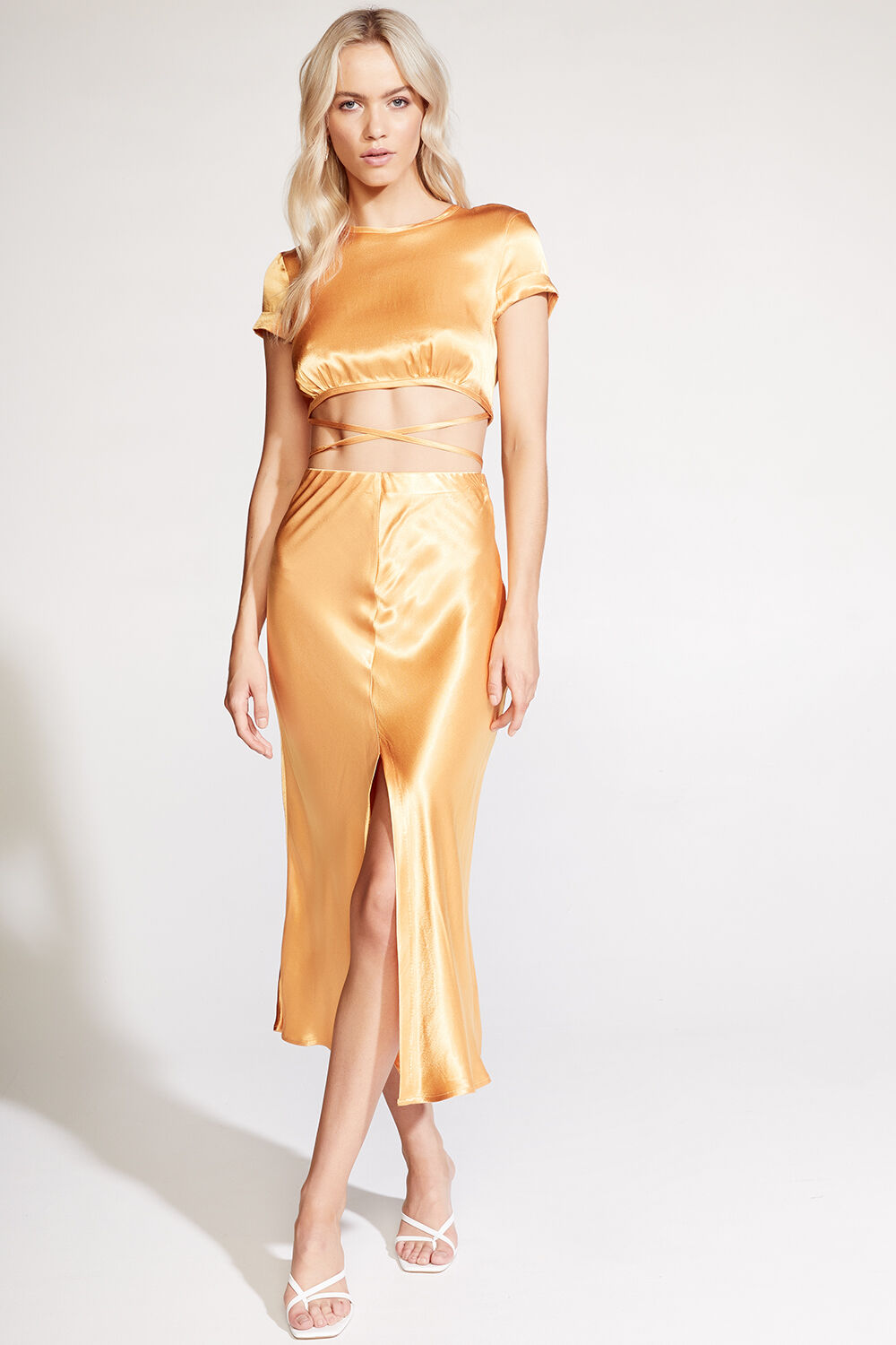 MIDI SLIP SKIRT in colour JAFFA ORANGE