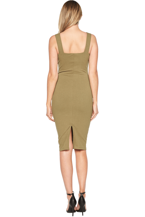 MIMI RIB DRESS in colour BURNT OLIVE
