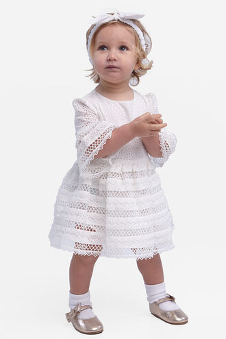 SELMA TRIM DRESS in colour CLOUD DANCER
