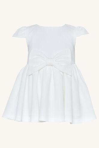 POLLY BOW DRESS in colour CLOUD DANCER