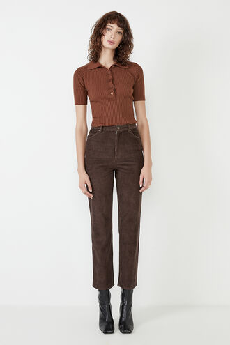 UTILITY CORD PANT. in colour CHOCOLATE BROWN