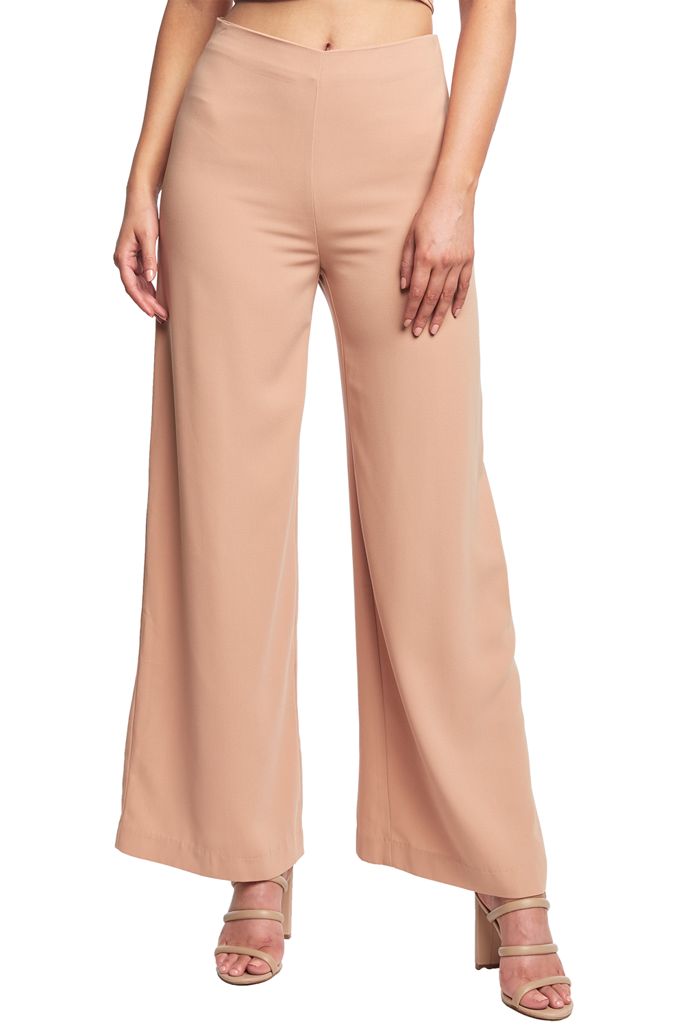 WIDE LEG PANT in colour ALMOND