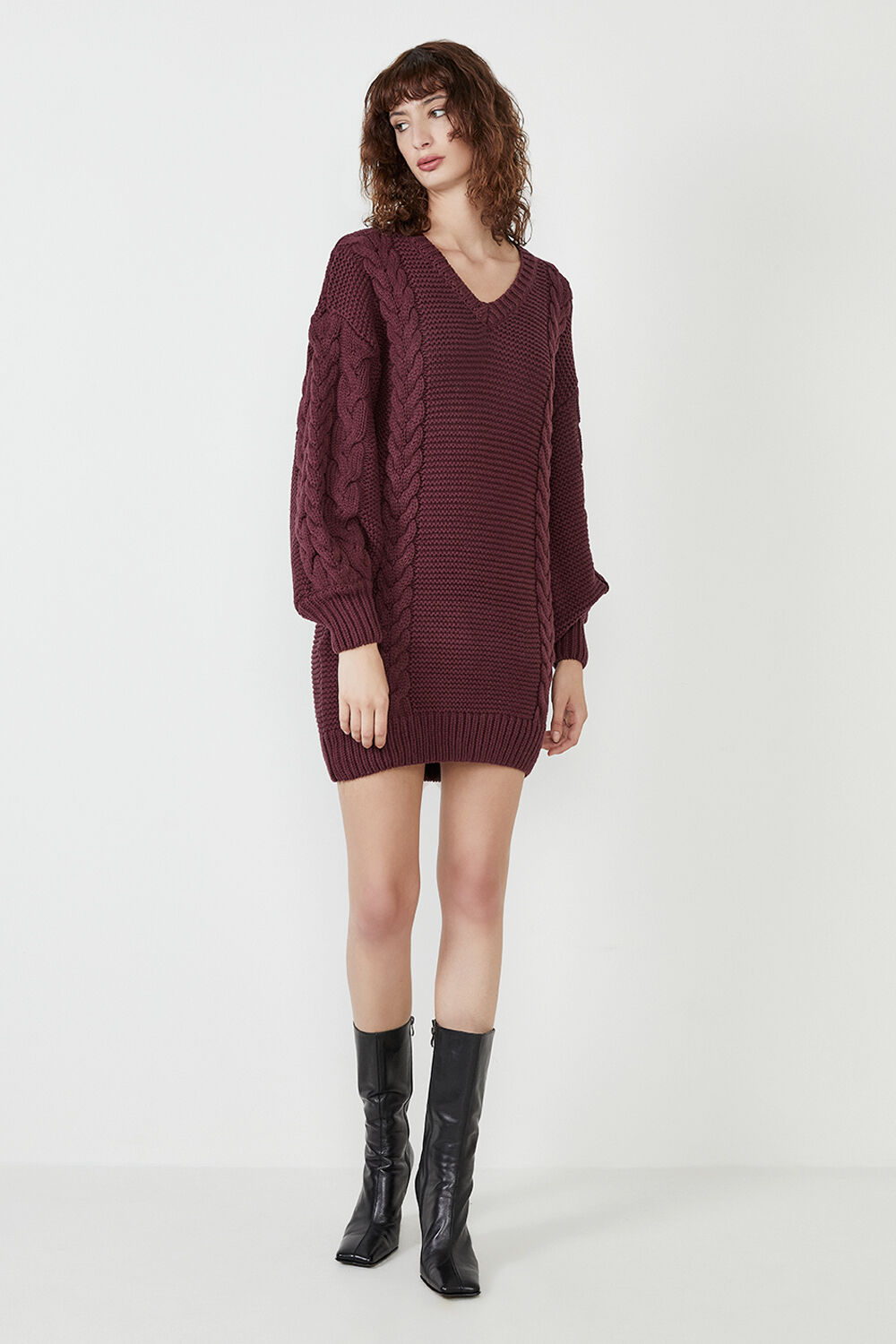 BELL KNIT DRESS in colour BURGUNDY