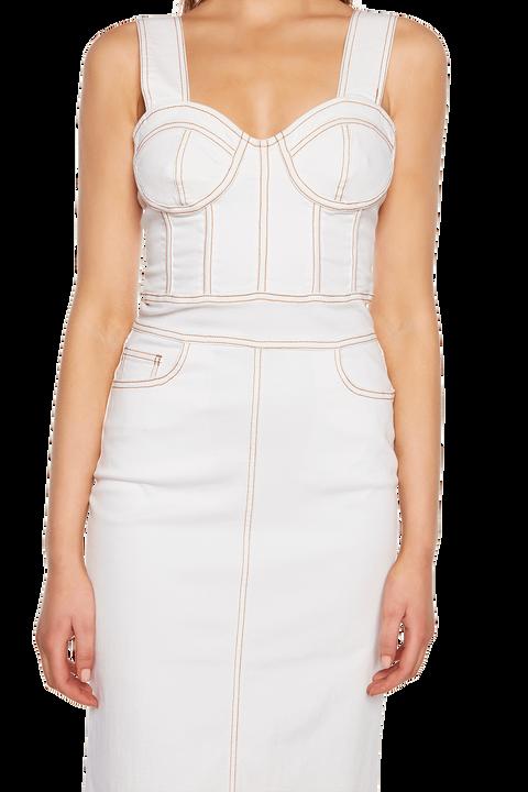 STELLA DENIM DRESS in colour SNOW WHITE