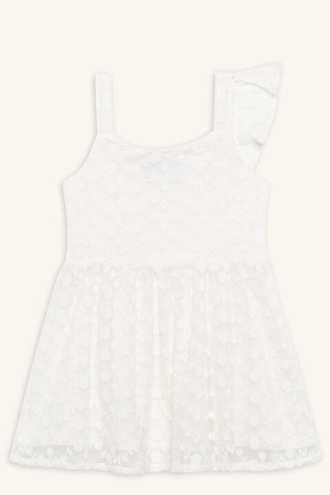 ALYSSA MESH DRESS in colour CLOUD DANCER