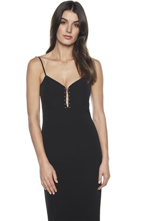 EMILIA BAR TRIM DRESS in colour CAVIAR