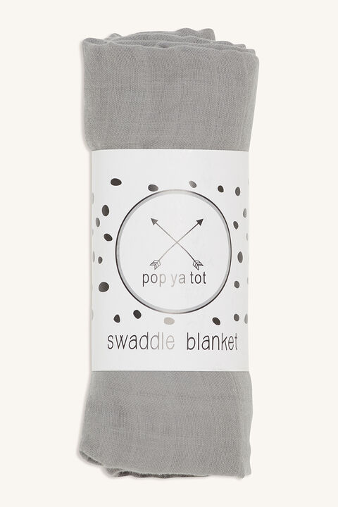 COTTON SWADDLE BLANKET in colour LIGHT GRAY