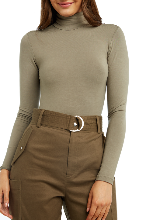 KATJA ROLL NECK BODYSUIT in colour DEEP LICHEN GREEN