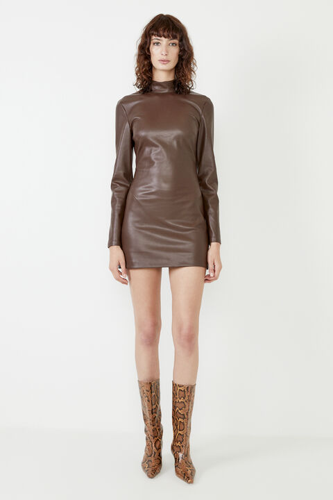 HARLEY VEGAN LEATHER DRESS in colour CHOCOLATE BROWN