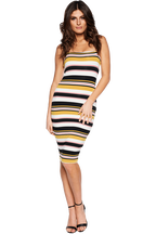 SONIA STRIPE DRESS in colour MISTED YELLOW