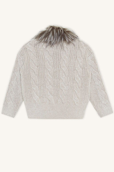 CABLE KNIT CARDI in colour FROST GRAY