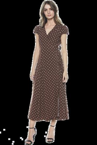 POLKA-DOT WRAP DRESS in colour BRUNETTE