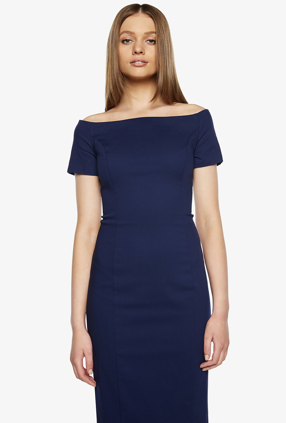 BUTTON SLEEVE DRESS in colour PATRIOT BLUE