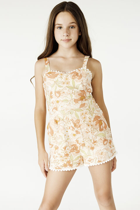 LANIE TRIM PLAYSUIT in colour PEACH MELBA