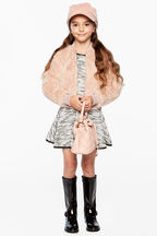 EVE FURRY BOMBER in colour ASH ROSE