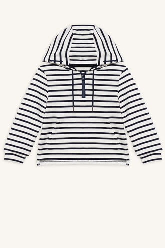 ZIP STRIPE HOODY in colour BRIGHT WHITE