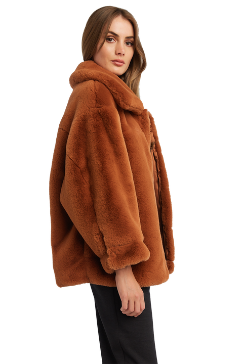 PIA FAUX FUR BOMBER JACKET in colour COPPER BROWN