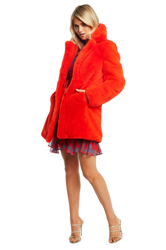 FUR MIDI COAT in colour FIESTA