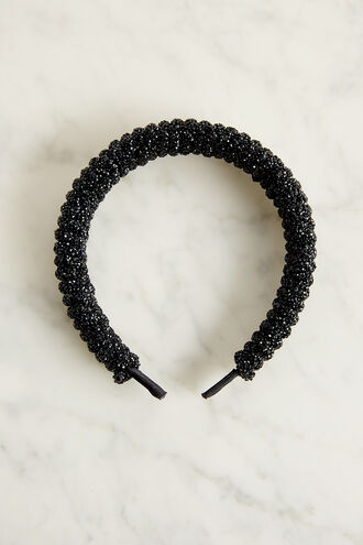 TWIST CRYSTAL HEADBAND in colour CAVIAR