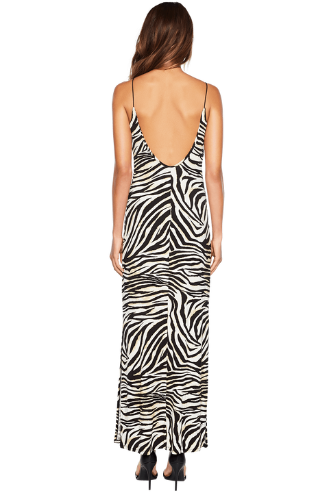 ZEBRA PRINT MAXI DRESS in colour CAVIAR