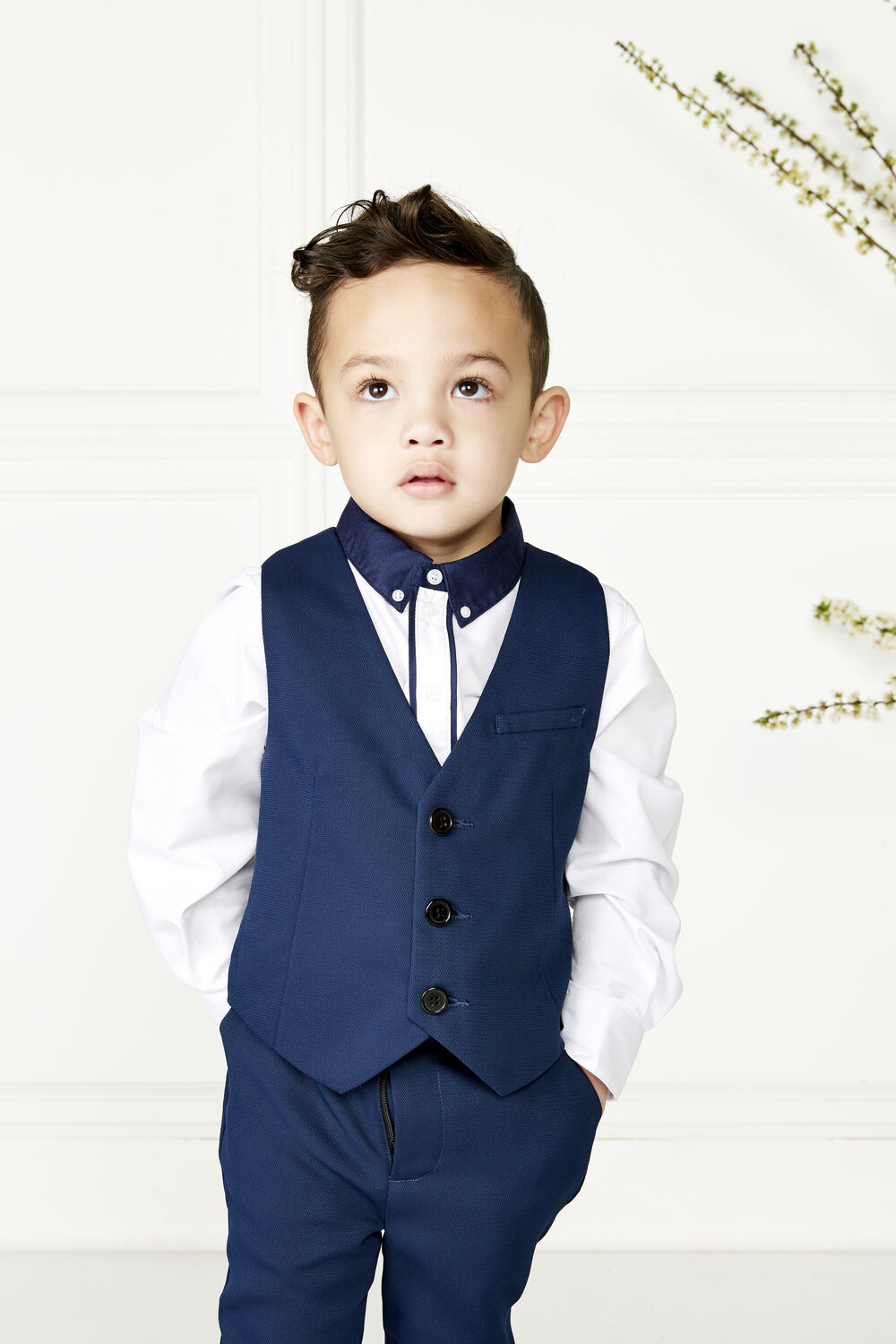 JUNIOR BOY TEXTURED SUIT VEST in colour DRESS BLUES