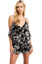 FLORAL PLAYSUIT in colour CAVIAR