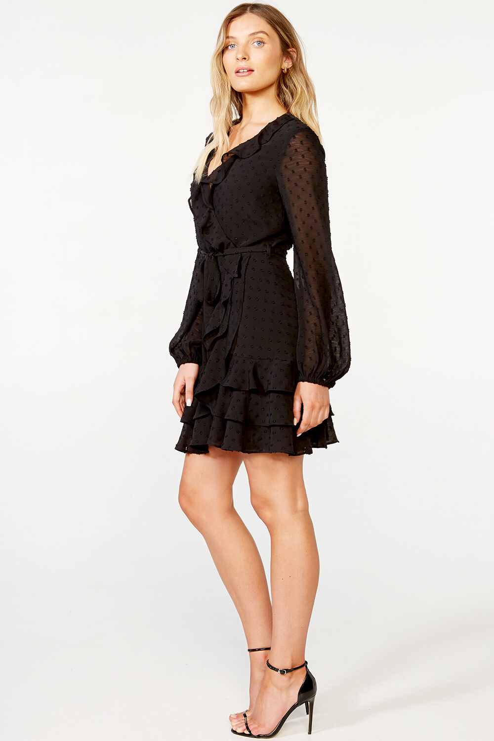 TRIPLE FRILL DRESS   in colour CAVIAR
