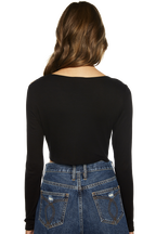CROP LONG SLEEVE RIB TOP in colour CAVIAR