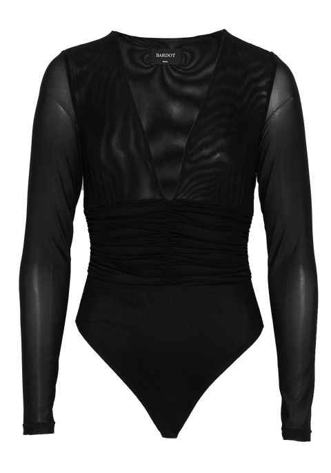 PAMELA LONG SLEEVE BODYSUIT in colour CAVIAR