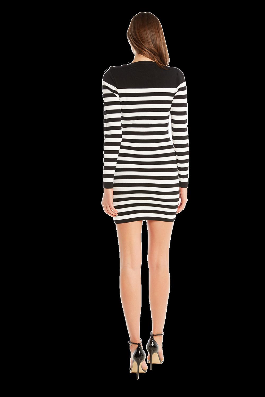 STRIPE BUTTON DRESS in colour CAVIAR