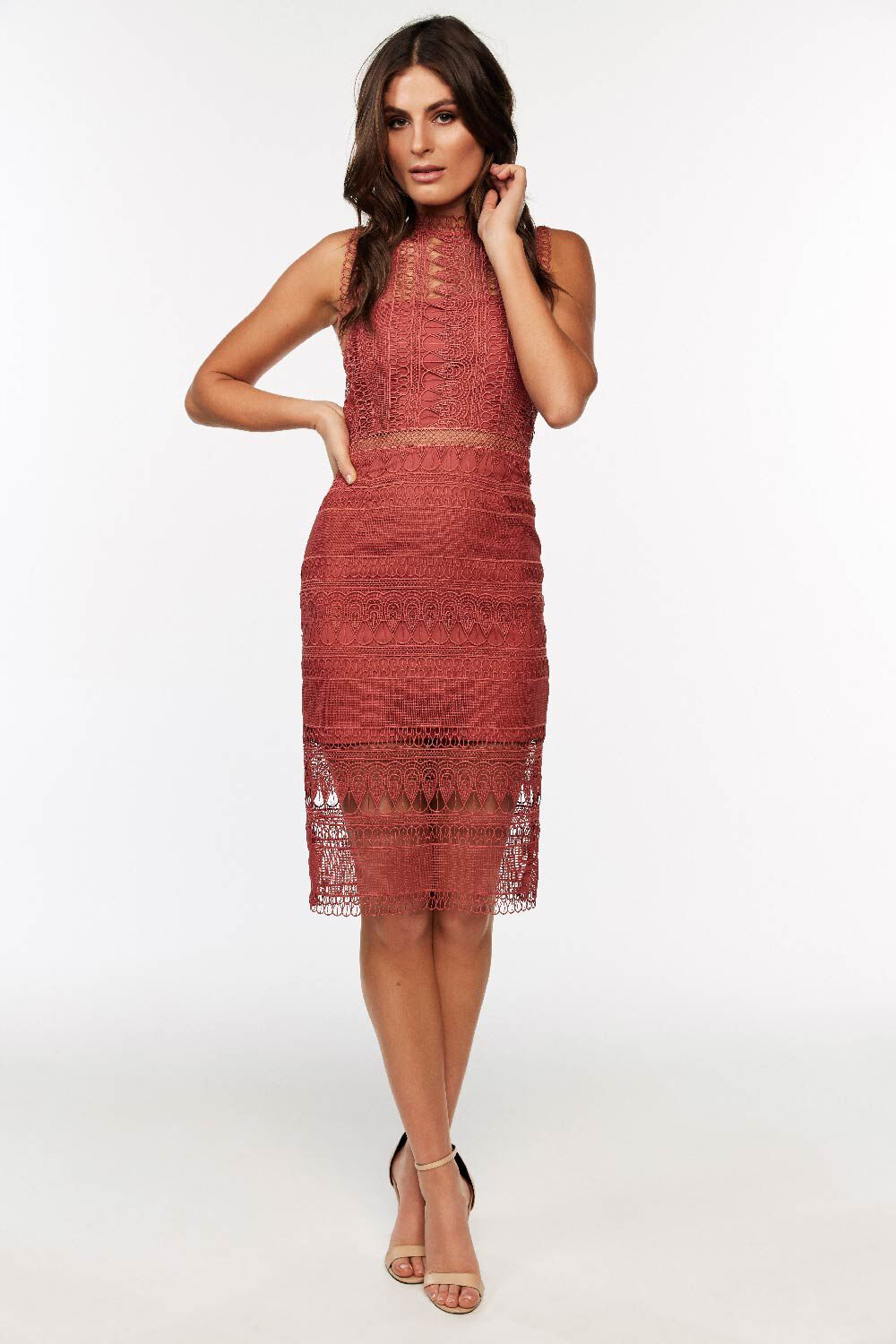 MARIANA LACE DRESS in colour CANYON ROSE