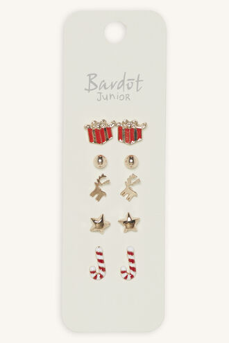 FESTIVE REINDEER EARRING STUD 5PK in colour GOLD EARTH