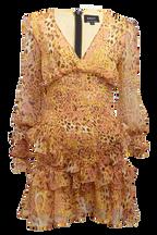 LEOPARD FRILL DRESS in colour WINTER WHITE