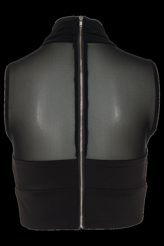 IRIS MESH TOP in colour CAVIAR