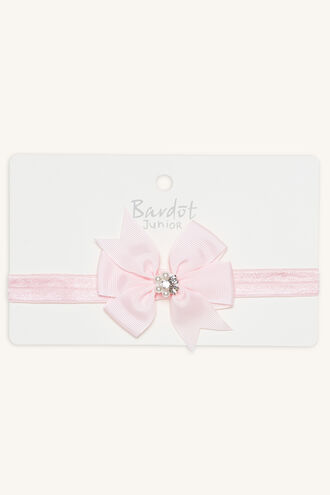 JEWEL CENTRE BOW STRETCH HEADBAND in colour PINK CARNATION