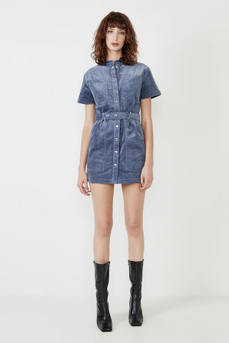 STACEY CORD MINI DRESS in colour CERULEAN