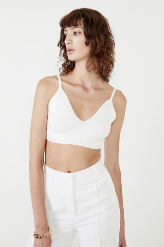 KNIT CROP BRALETTE in colour BRIGHT WHITE