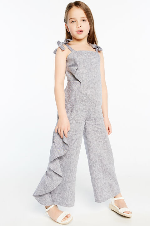 EVAH RUFFLE JUMPSUIT in colour MARITIME BLUE