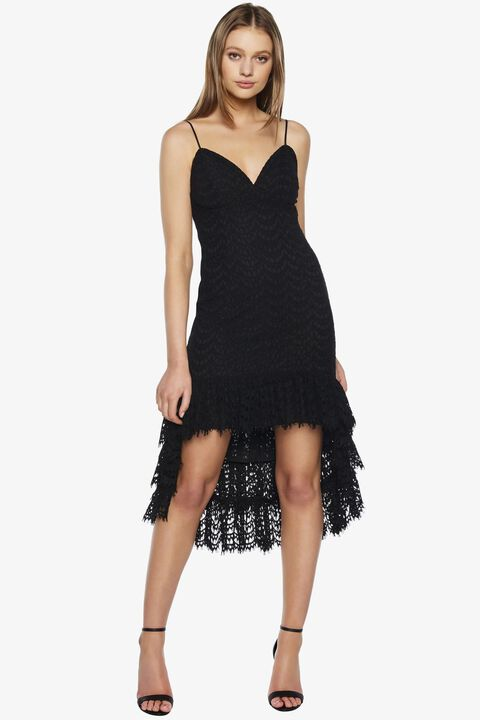 SCALLOP LACE DRESS in colour CAVIAR