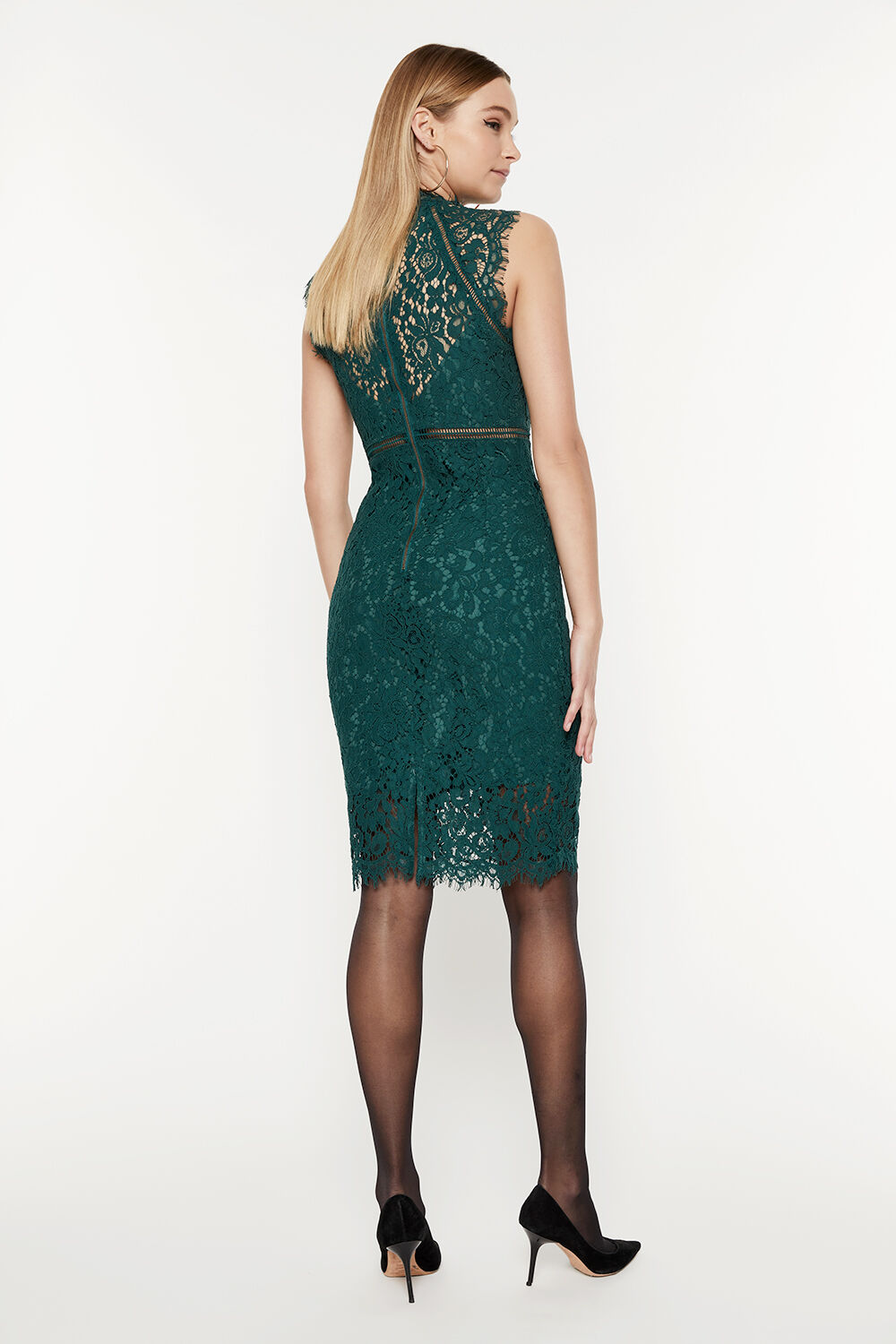 LACE PANEL DRESS in colour GREEN GABLES