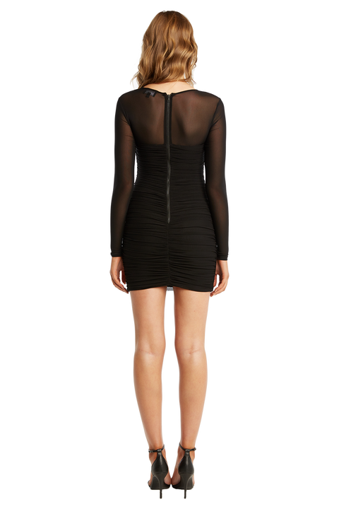 TASHA MESH DRESS in colour CAVIAR