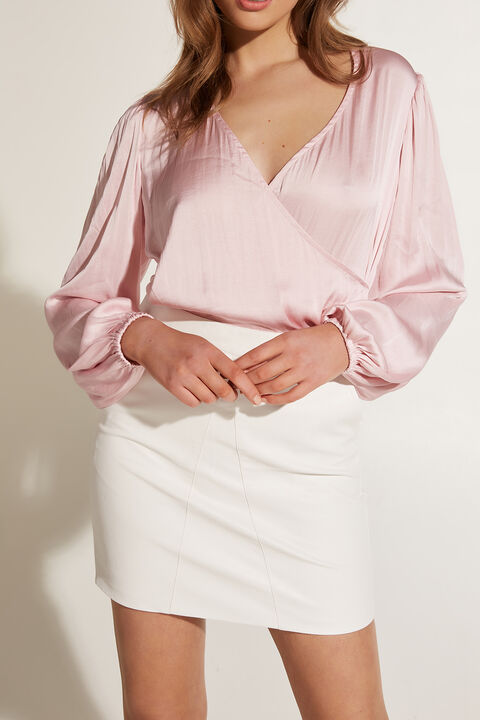 HALEY WRAP TOP in colour PARFAIT PINK