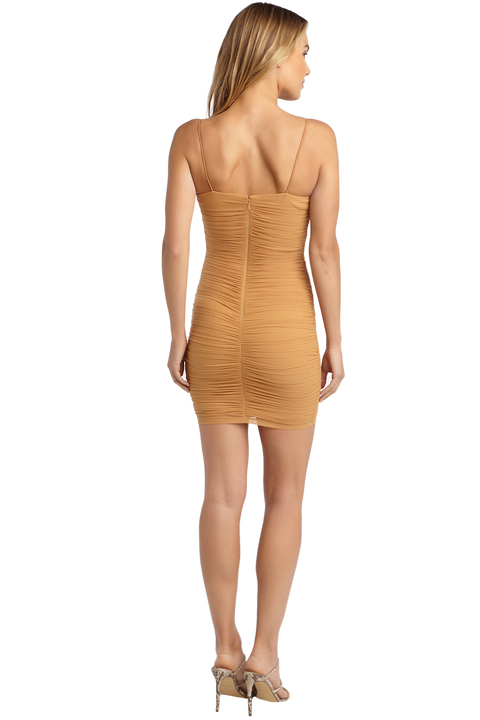 TAMMY MESH DRESS in colour RUGBY TAN