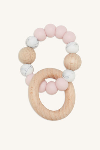 SINGLE RATTLE SILICONE & BEECHWOOD TEETHER in colour IMPATIENS PINK