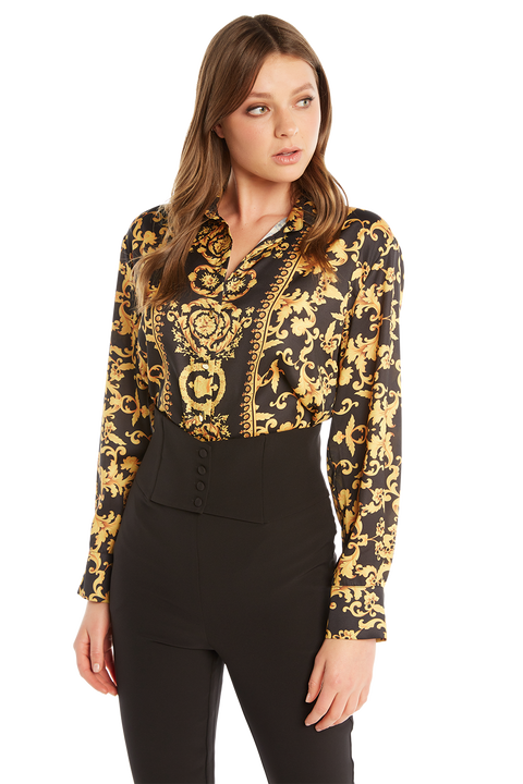 SCARF PRINT SHIRT in colour BLACK BEAN