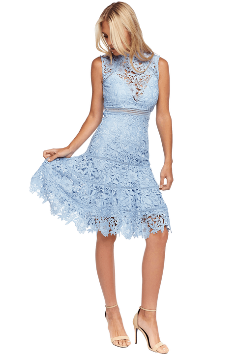 ELISE LACE DRESS in colour ANGEL FALLS