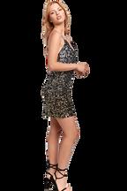 GLIMMER MINI DRESS in colour CAVIAR