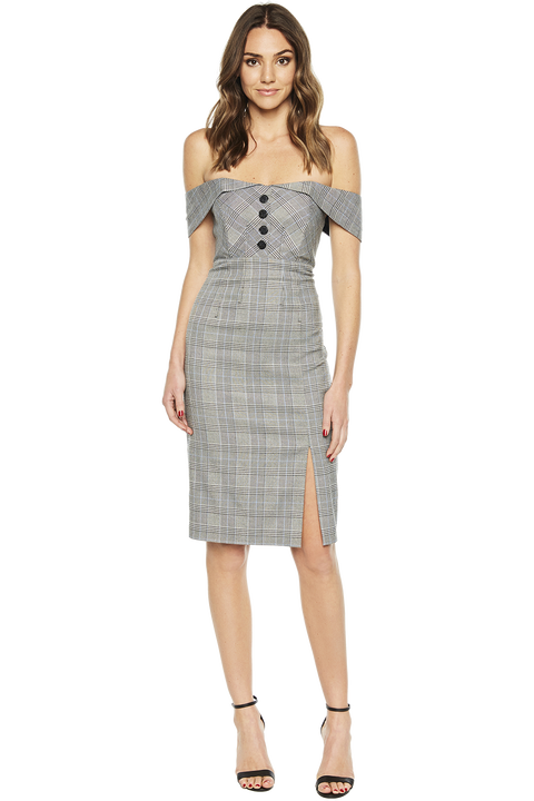 BELLA CHECK DRESS in colour CAVIAR