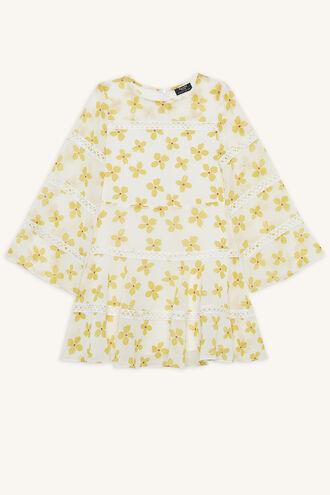 POPPY TRIM DRESS in colour CLOUD DANCER